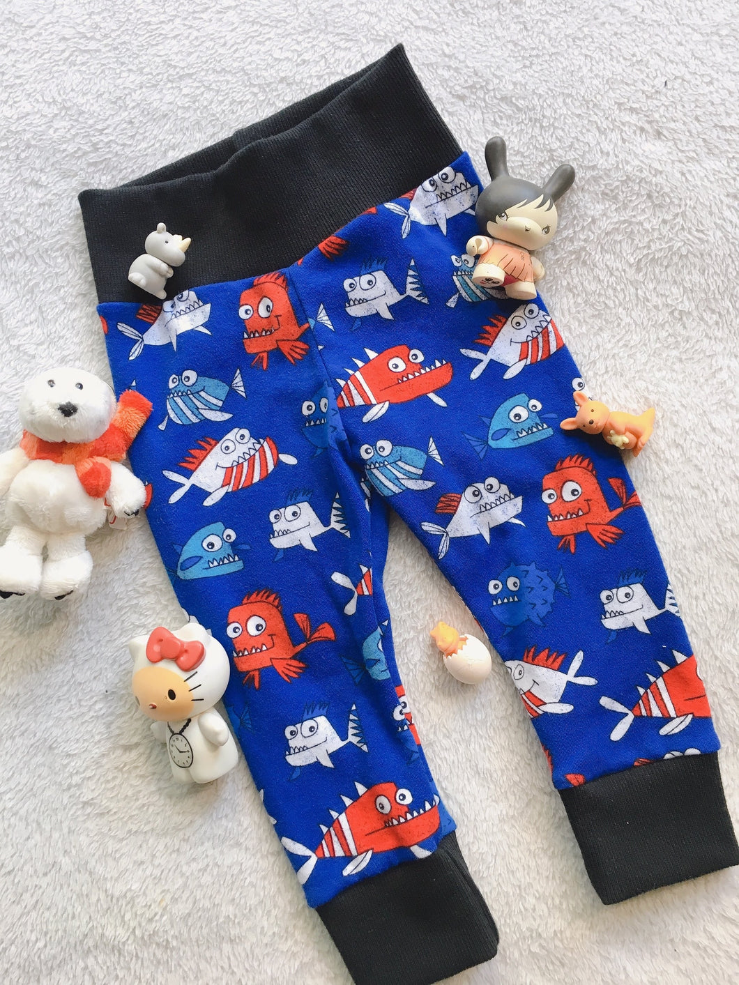 Kid Joggers - Baby Pants - Happy Fish - CUTE - Comfortable
