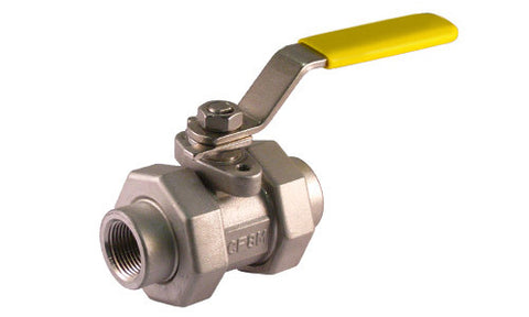 Threaded Double Union End Stainless Steel Ball Valve 5pc 3000 WOG - Valve Warehouse