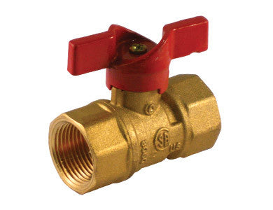 Threaded Brass Gas Ball Valve with T-handle - Valve Warehouse