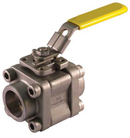 Sweat Stainless Steel Ball Valve 3 Pc 4 Bolt Enclosed 2000 WOG - Valve Warehouse