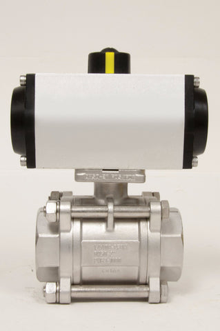 Direct Mount Double Acting Pneumatic Actuator, Stainless Steel Ball Valve 3 Piece/4 Bolt, 1000 WOG - Valve Warehouse