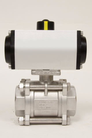 Direct Mount Spring Return Pneumatic Actuator, Stainless Steel Ball Valve 3 Piece/4 Bolt, 1000 WOG - Valve Warehouse