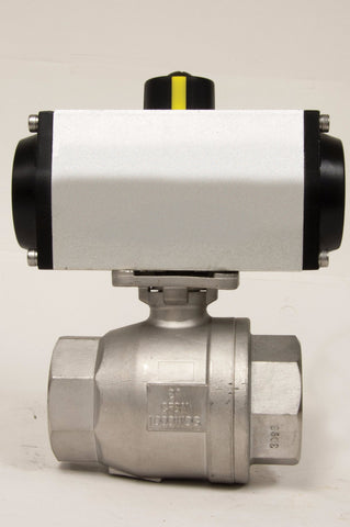 Direct Mount Spring Return Pneumatic Actuator, Stainless Steel Ball Valve, 1000 WOG - Valve Warehouse