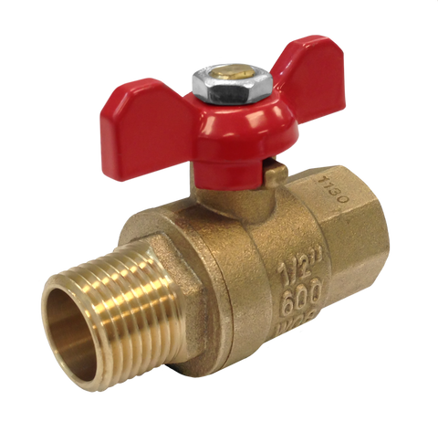 Male x Female Brass Ball Valve with T-handle - Valve Warehouse