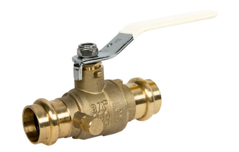 Lead Free Brass Press Valve with Drain and Stainless Steel Ball and Stem