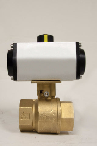Direct Mount Double Acting Pneumatic Actuator, Premium Brass Ball Valve, 600 WOG - Valve Warehouse