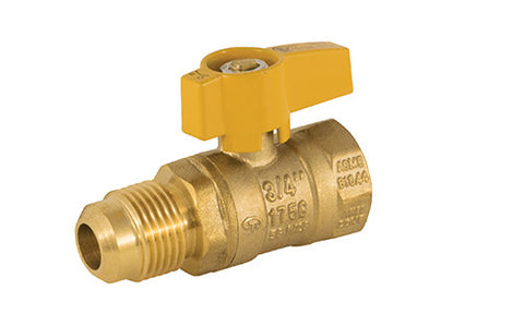 Flare x FIP Connection Brass Gas Ball Valve with Teardrop Handle - Valve Warehouse