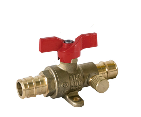 PEX x PEX Lead Free Expansion Pex Ball Valve with Drain and Stainless Steel Trim T-handle