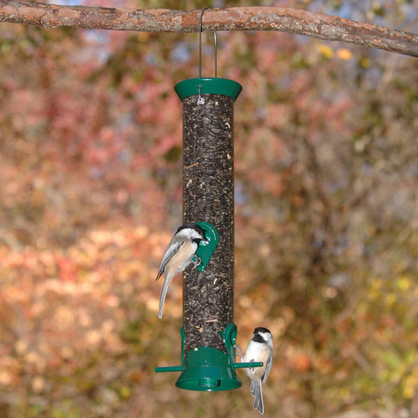 green bird feeder with birds eating from it