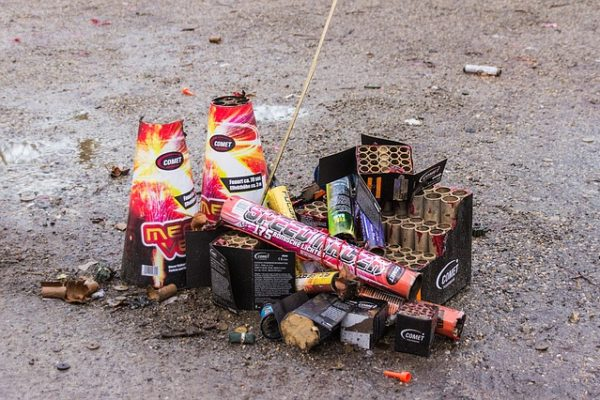 firework trash and debris