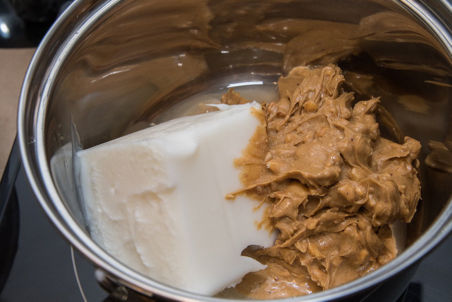 Peanut butter and lard being melted for suet