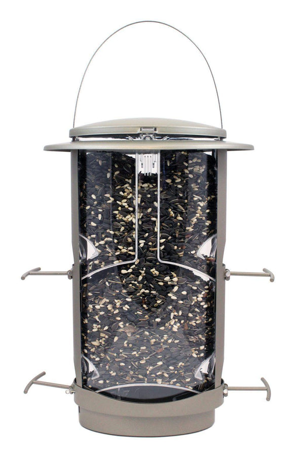 Squirrel-X by More Birds X1 Squirrel-Resistant Bird Feeder filled with sunflower seeds