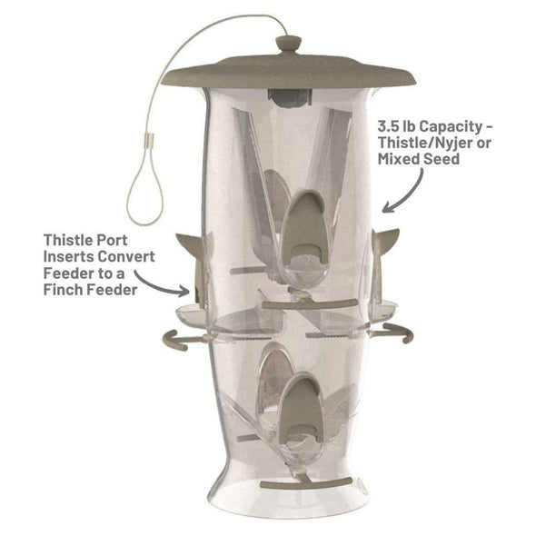More Birds Abundance Bird Feeder has a 3.5 lb capacity for thistle/nyjer or mixed seed; thistle port inserts convert feeder to a finch feeder