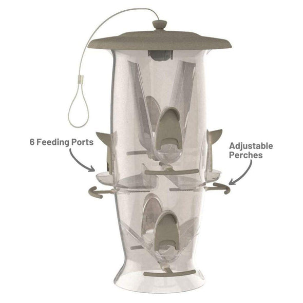More Birds Abundance Bird Feeder has six feeding ports and adjustable perches