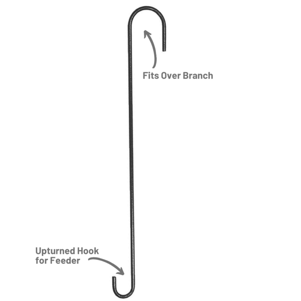 More Birds® 18 inch Extension Hook fits over tree branches, upturned hook for bird feeder