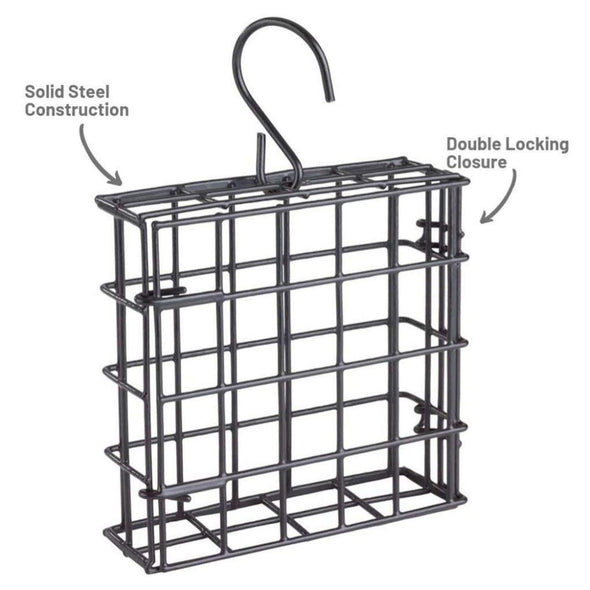 More Birds® Suet Cage Single is made of solid steel construction with a double-locking closure