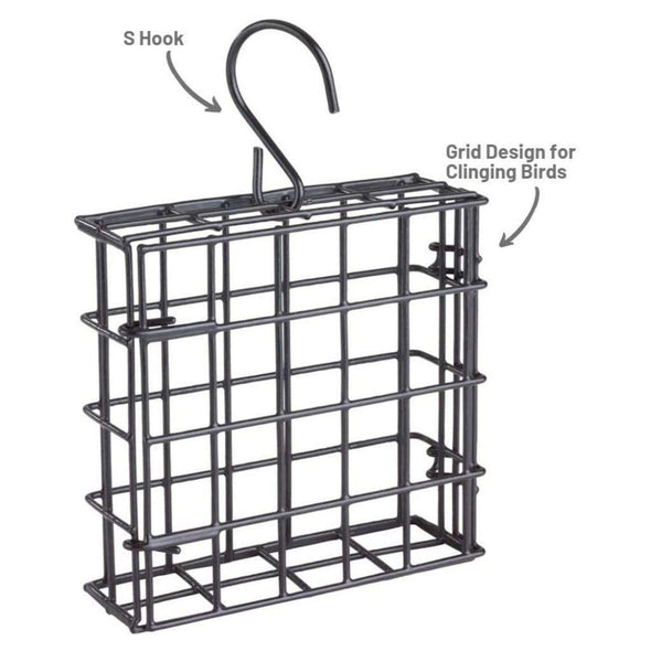 More Birds® Suet Cage Single has a grid design for clinging birds and an s hook
