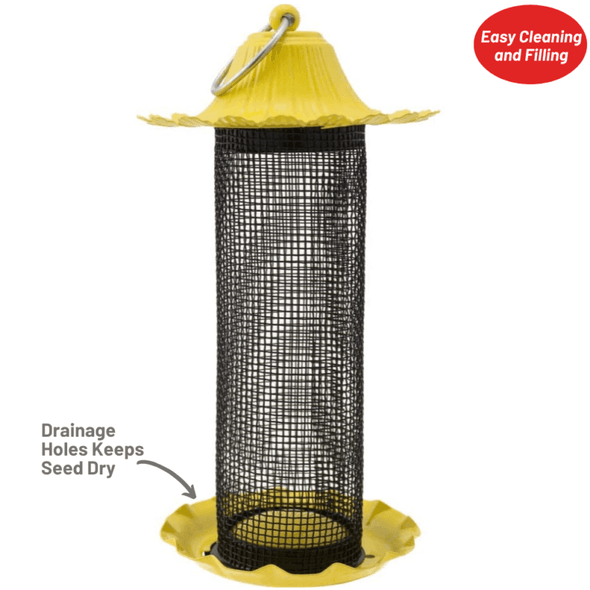 drainage holes keep seed dry on More Birds® Little-Bit Finch Screen Feeder