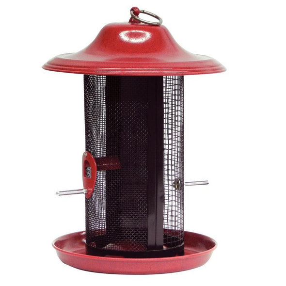 More Birds® Red Twin Dual-Compartment Sunflower/Thistle Screen Bird Feeder, 3.3 lb. capacity