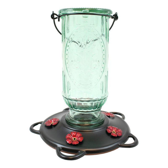 More Birds® Vintage Hummingbird Feeder with Antique Glass Bottle, 20 oz. Nectar capacity in Green (#39)