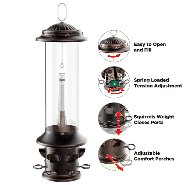 Squirrel-X™ X5 Squirrel-Resistant Bird Feeder with Spring-Loaded Perches, 3.7 lb. capacity