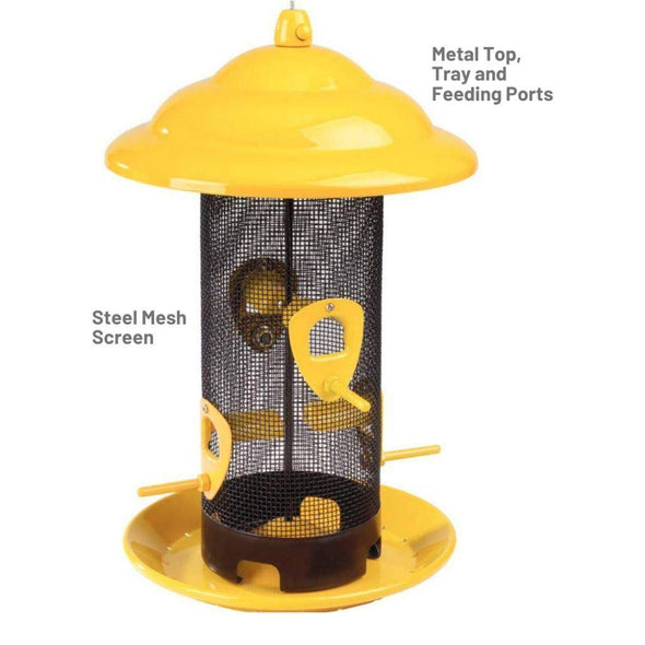 steel mesh screen and metal top, tray and feeding ports on the More Birds Sedona Screen Bird Feeder