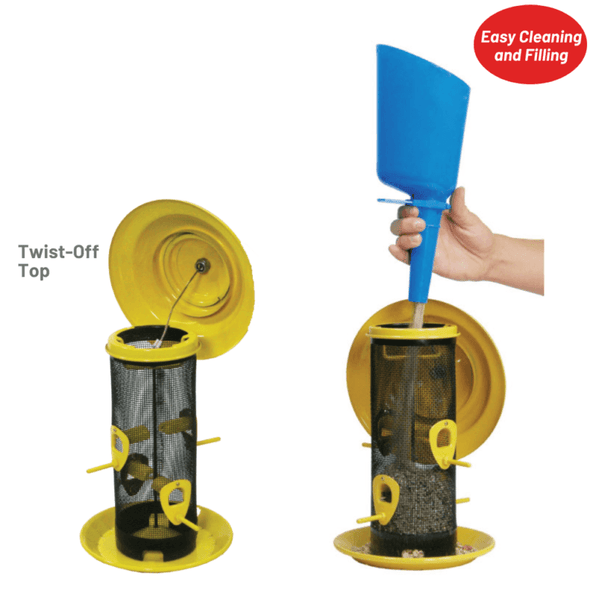 twist-off top for easy cleaning and filling on the More Birds Sedona Screen Bird Feeder