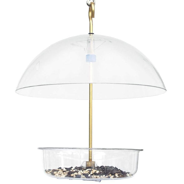 Droll Yankees X-1 Seed Saver Bird Feeder filled with bird seed
