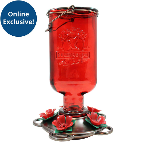 More Birds® Elixir Hummingbird Feeder with Antique Glass Bottle and Plastic Ports, 13 oz. capacity Bird Feeder More Birds