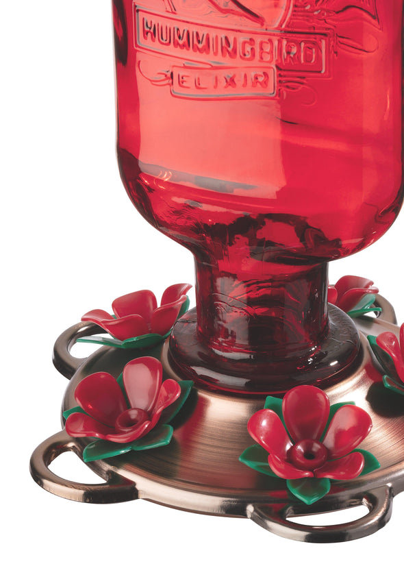 More Birds® Elixir Hummingbird Feeder with Antique Glass Bottle and Plastic Ports, 13 oz. capacity