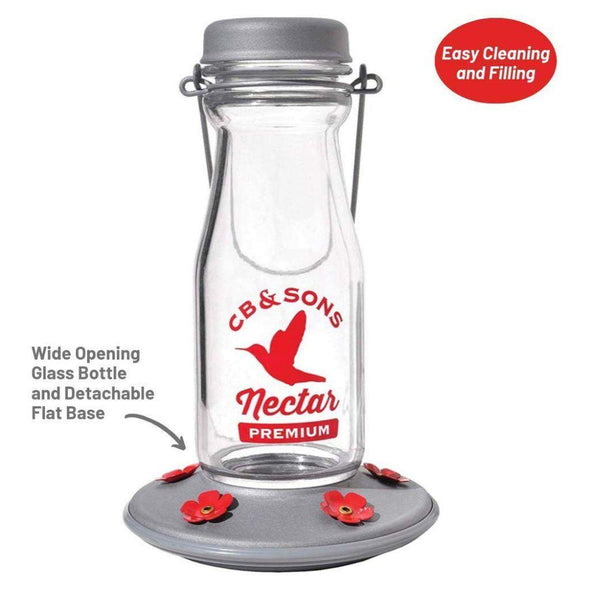 More Birds Jersey Hummingbird Feeder is easy to clean and fill with the wide opening glass bottle and detachable flat base