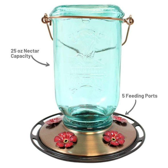 More Birds Mason Jar Hummingbird Feeder 25 oz nectar capacity and five feeding ports