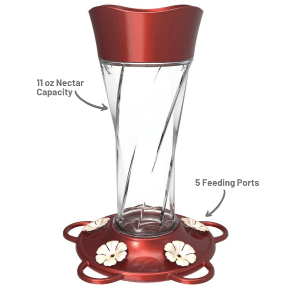 More Birds Twist Hummingbird Feeder 11 oz nectar capacity and five feeding ports