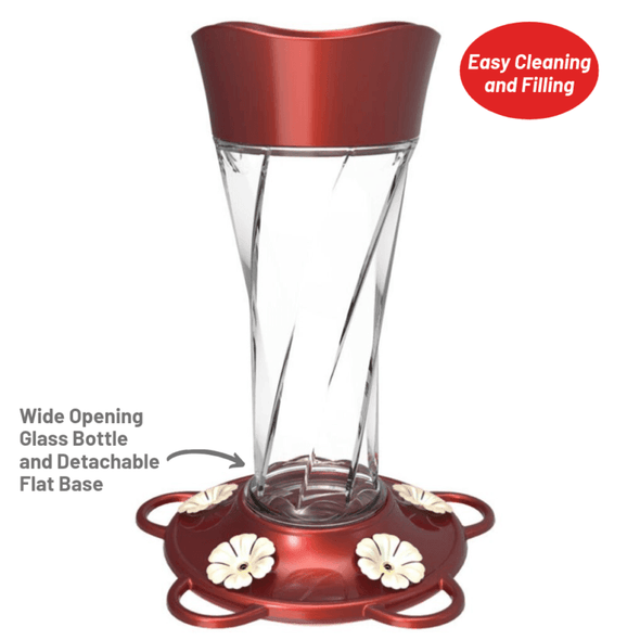 More Birds Twist Hummingbird Feeder is easy to clean and fill with the wide opening glass bottle and detachable flat base