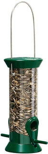 Droll Yankees New Generation 8 in. songbird feeder filled with sunflower seeds