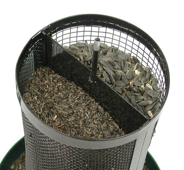 dual compartments of More Birds Twin Screen Feeder filled with sunflower and thistle seeds
