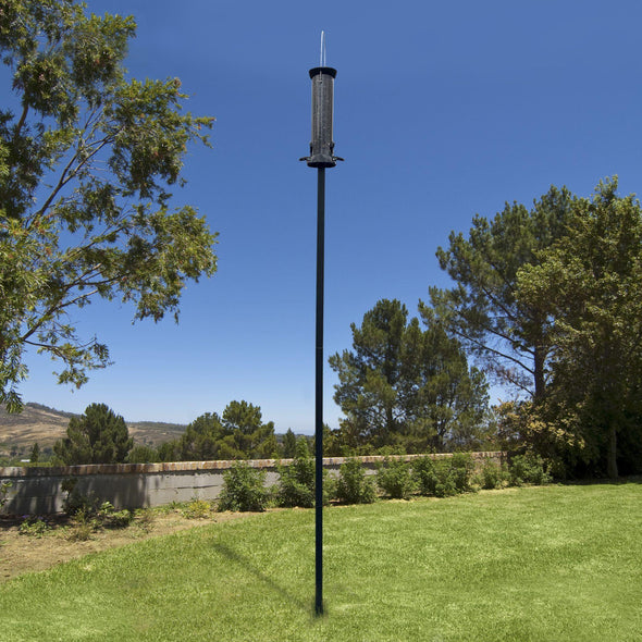 bird feeder mounted on Droll Yankees Garden Pole
