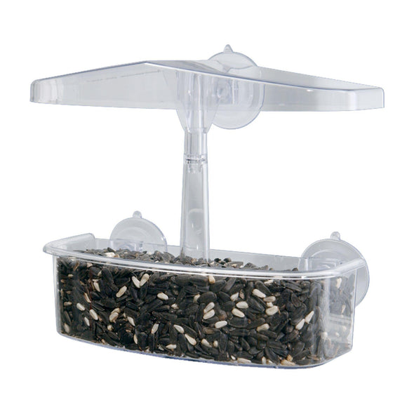 Droll Yankees observer window feeder filled with bird seed