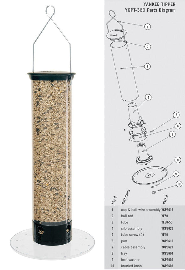 Droll Yankees Yankee Tipper Squirrel-Proof Bird Feeder parts diagram