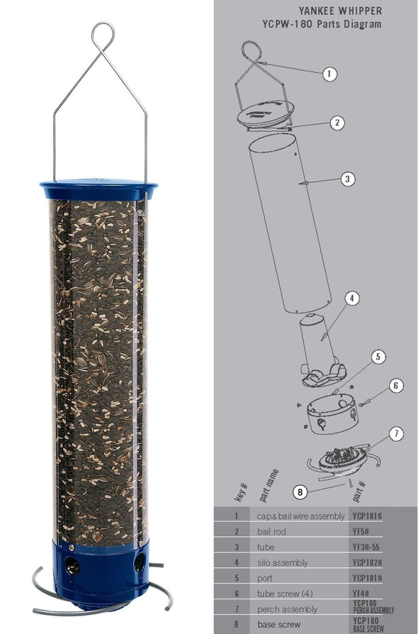 Droll Yankees Yankee Whipper Squirrel-Proof Bird Feeder parts diagram
