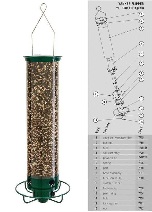 Droll Yankees Yankee Flipper Squirrel-Proof Bird Feeder parts diagram