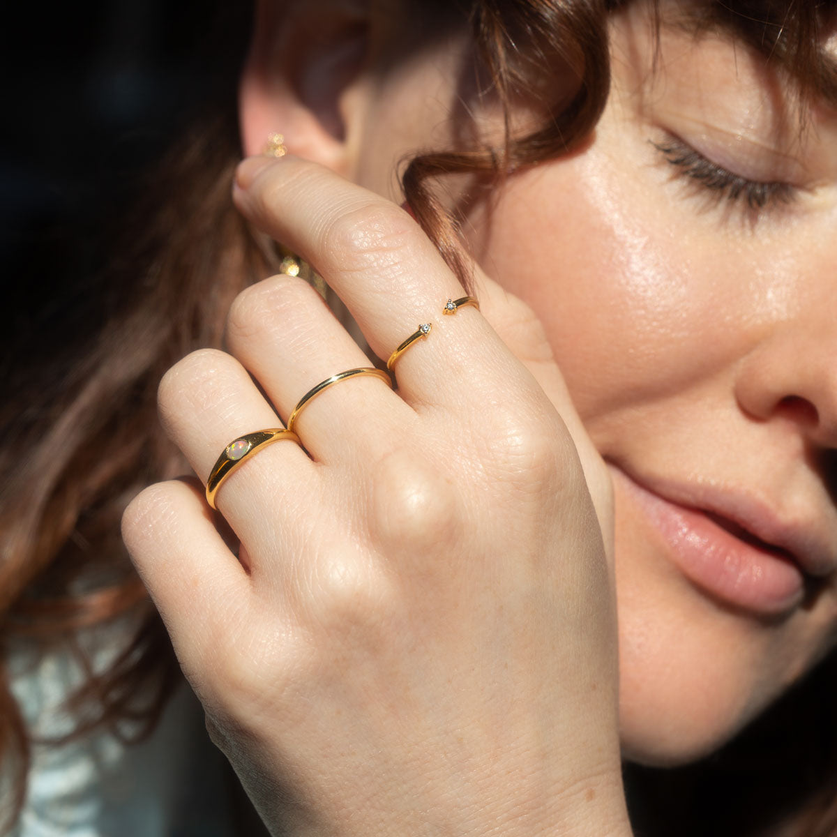 The Gold Opal Mini Signet Ring