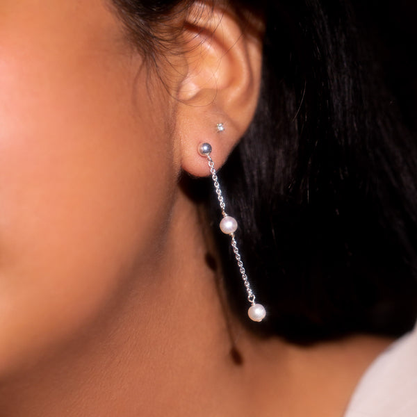 The Silver Mini Plato Drop Earrings