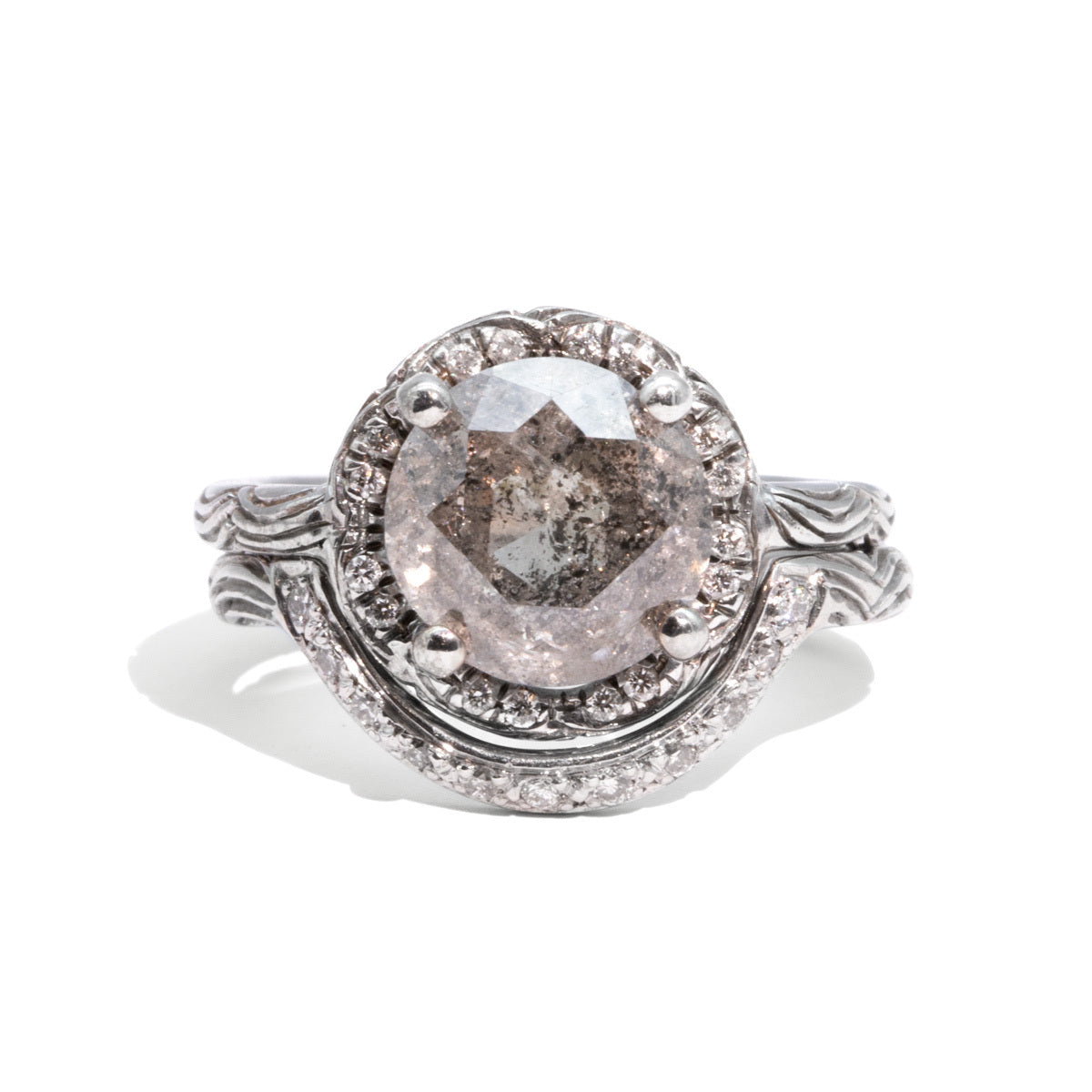 The Nina Vintage Salt & Pepper Diamond Ring Set