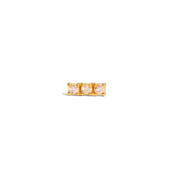 The Single Gold Diamond Trio Stud Earring
