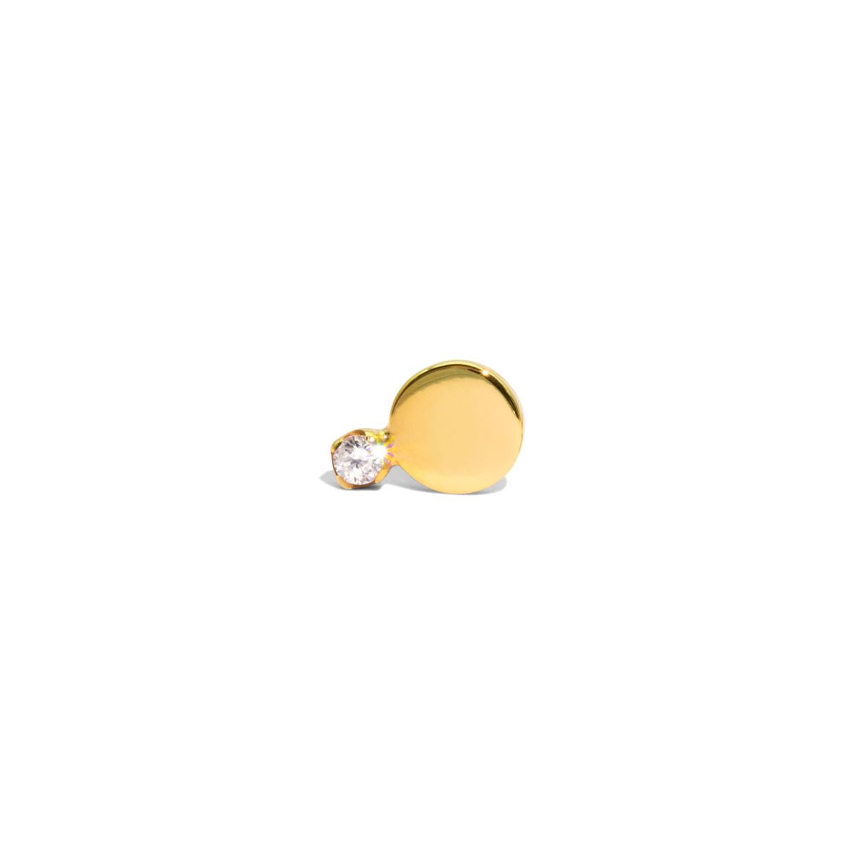 The Single Gold Diamond Horizon Stud Earring
