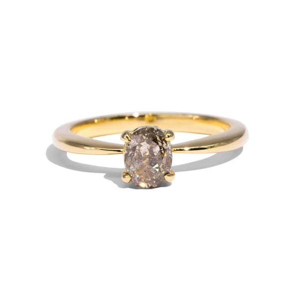 The Sara Solitaire Salt & Pepper Diamond Ring