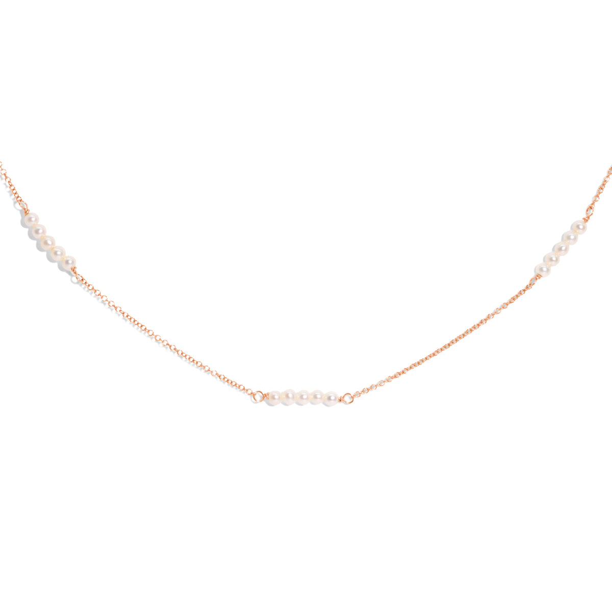 The Rose Gold Pearl Trickle Necklace