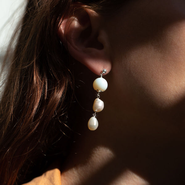 The Silver Mini Sherbet Moon Stud Earrings