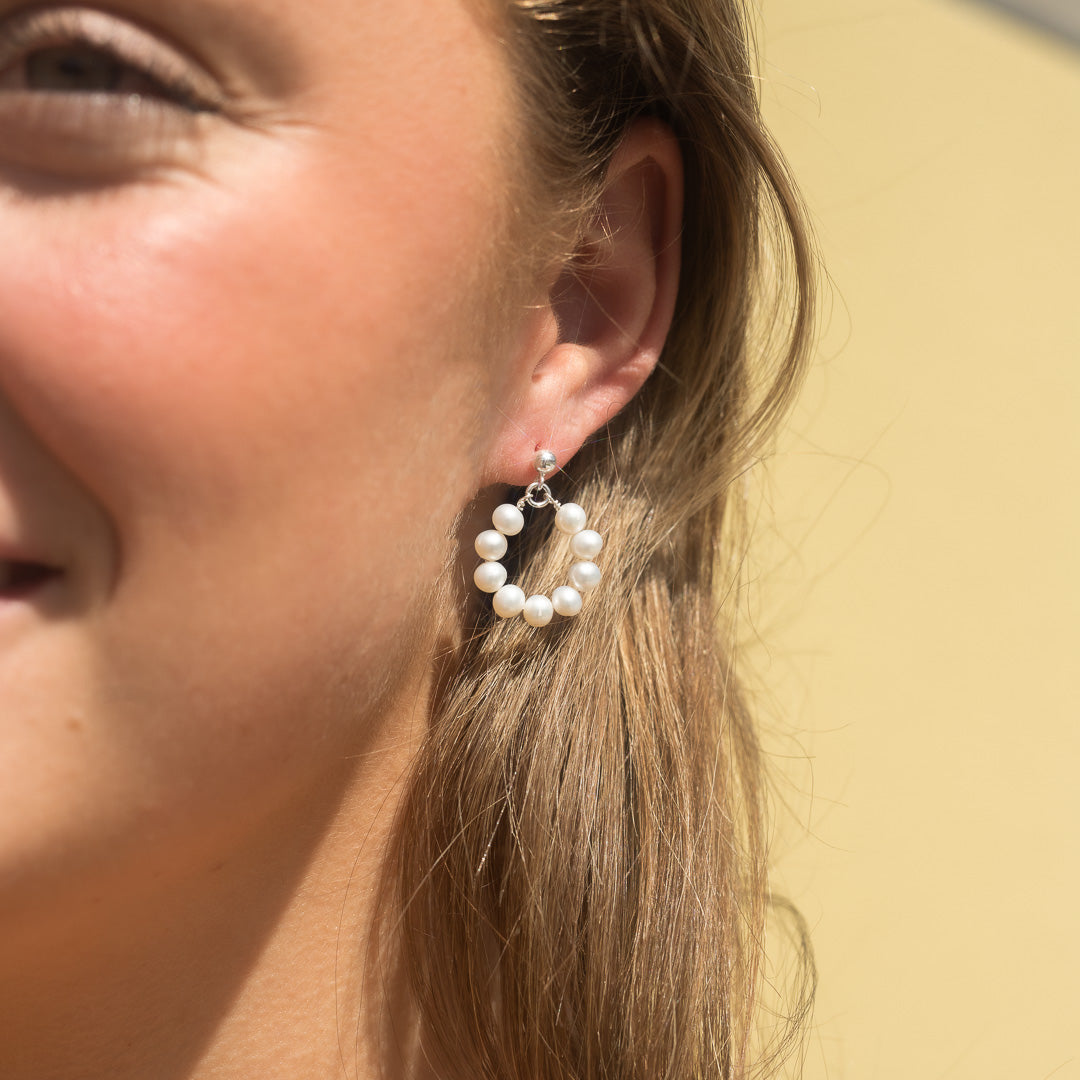 The Silver Pearl Halo Earrings